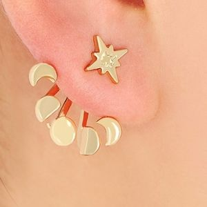 Jewelry - Gold Moon Phases & Star Ear Jacket Studs